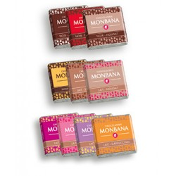 Monbana assortes chocolate squares 200 pcs 800g