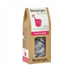 Teapigs Rhubarb & Ginger herbal tea pyramid