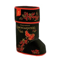 Krasnodar Gift set Khokhloma boot with leaf tea