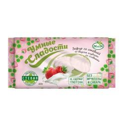 Gudrie saldumi ZEFĪRS ar stēviju, zemenes ar krējumu 50g Bez cukura