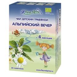 Fleur Alpine Evening био успокаивающий Чай детский травяной c 4 месяцев, в пакетиках