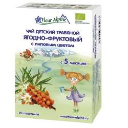 Fleur Alpine био Ягодно-Фруктовый с Липовым цветом Чай детский травяной c 5 месяцев, в пакетиках
