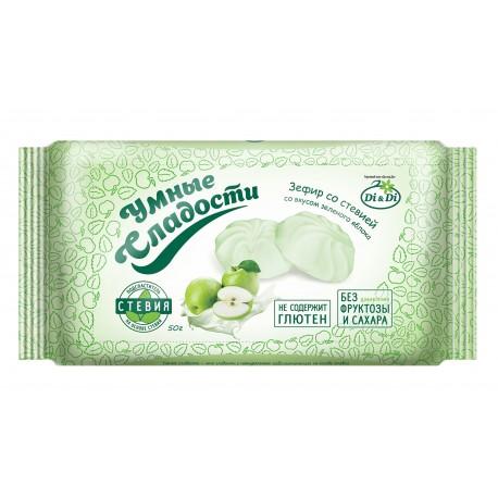 Smart sweets ZEFIR with stevia, Green apple flavor 50 g No sugar