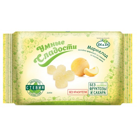 Smart sweets MARMELAD MELON with stevia, not glazed 200 g No sugar added.