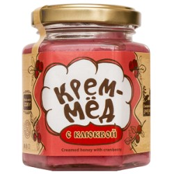 Крем-мёд с клюквой, 220 г