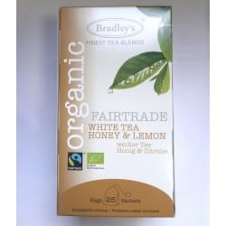 Bradley's Bio Fairtrade baltā tēja ar citronu un medu maisiņos 25gab.x2g