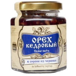 Кедровые орехи в сиропе из черники 220 г Сибирский Знахарь