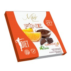 MILETE FINE sweets dark chocolate with orange pieces, with erythritol and stevia 80g