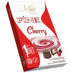 MILETE FINE конфеты темный шоколад с начинкой из сушены вишен и йогурта, с мальтитолом 140г