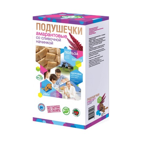 Smart Sweets PILLOWS with stevia, amaranths, with cream filling 250 g