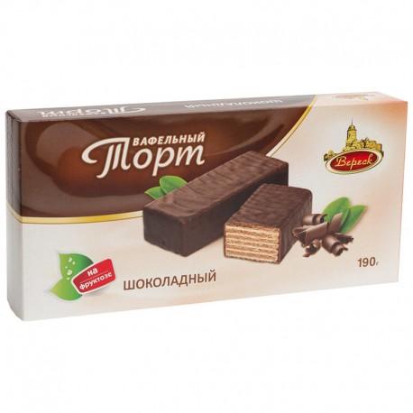 Вафельный торт глазированный Шоколадный на фруктозе 190 г ВЕРЕСК