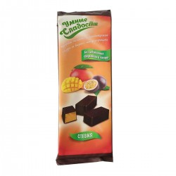 Gudrie saldumi KONFEKTES ar stēviju, želejas, ar mango-marakujas garšu glazūrā 105g