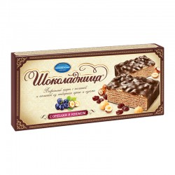 "Glazed wafer cake ""Шоколадница"" with nut and raisins 270g"