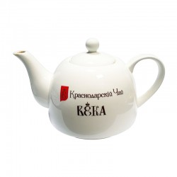 "Chinese porcelain teapot with logo ""Краснодарскiй Чай ВЕКА"""