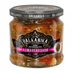 """Meal TM """"BALKANIKA"""" from grilled peppers and eggplants """"АДЖАПСАНДАЛИ"""" 340g"""