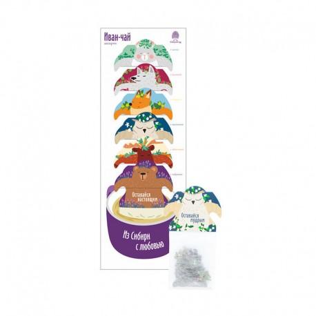 "Siberian Ivan-tea ""Gift set"" bags (6 pcs) with mint, raspberry, lemon, jasmine, sea buckthorn, thyme"