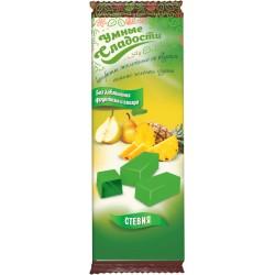 Gudrie saldumi KONFEKTES ar stēviju, želejas, ar ananāsu-zaļa bumbieru garšu 90g